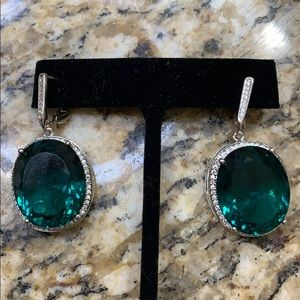 Apatite and CZ Large Earrings 925 New